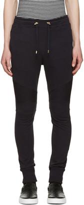 Balmain Navy Ribbed Knee Lounge Pants $765 thestylecure.com