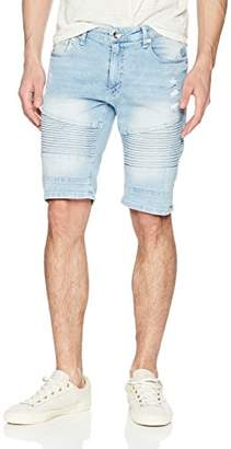 Southpole Men's Denim Shorts with Destructed Ripped and Repaired