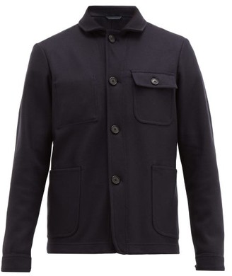 Altea Patch Pocketed Wool Blend Jacket - Mens - Navy