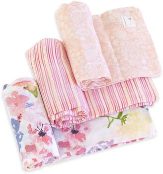 Burt's Bees Spring Bouquet Watercolor Organic Muslin Swaddle Blankets 3 Pack