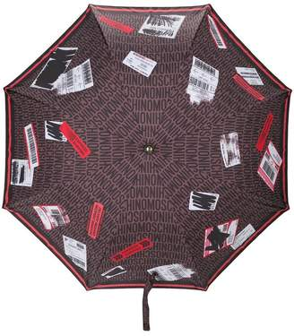Moschino travel tag print umbrella