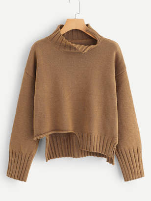 Shein Plus Slit Asymmetrical Hem Sweater