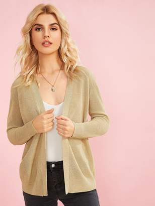 Shein Open Front Thick Knit Cardigan