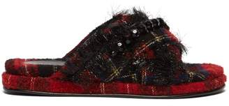 Simone Rocha Embellished Fringed Tartan Tweed Slides - Womens - Black Red