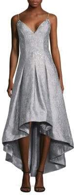 Aidan Mattox Metallic Hi-Lo Gown