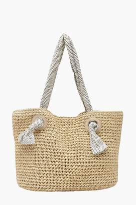 boohoo Straw Beach Bag With Spotty Handle