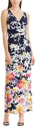 Chaps Women's Floral Surplice Maxi Dress