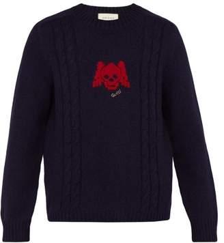 Gucci Skull Intarsia Wool Blend Sweater - Mens - Navy