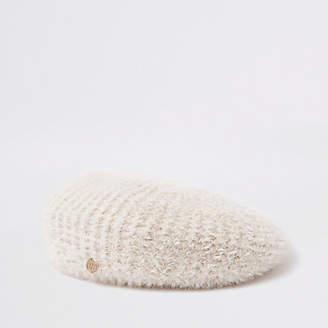 River Island Beige fluffy beret