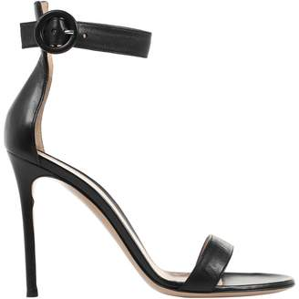 Gianvito Rossi Portofino Black Leather Sandals