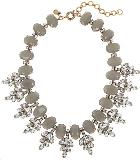 Leaves crystal statement necklace
