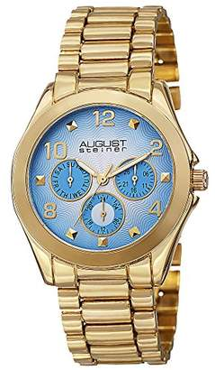 August Steiner Women's AS8150YG Yellow Gold Multifunction Quartz Watch with Blue Dial and Yellow Gold Bracelet
