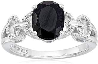 Sterling Silver Oval Onyx and Diamond-Accented Ring