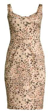 Black Halo Vista Leopard Print Sheath Dress
