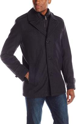 Tommy Hilfiger Men's Wool Melton Single Breasted Peacoat with Bib
