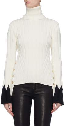 Alexander McQueen Contrast cuff button outseam rib knit turtleneck sweater