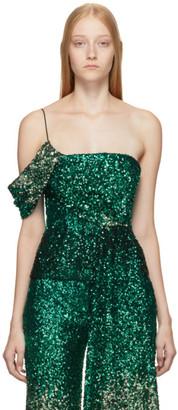 Halpern SSENSE Exclusive Green Degrade Sequin Draped Bustier