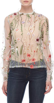 Few Moda High Neck Floral Embroidered Mesh Top