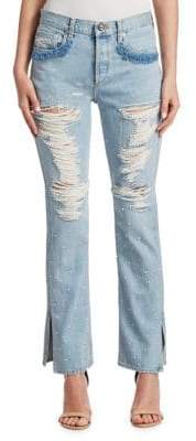 Jonathan Simkhai Distressed Beaded Jeans