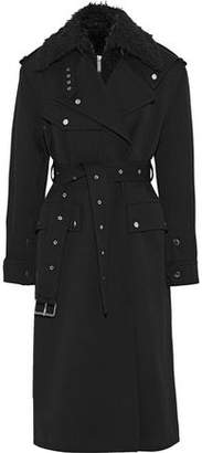 Helmut Lang Faux Fur-Trimmed Gabardine Trench Coat