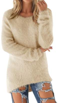 BU2H-Women BU2H Womens Casual Crew Neck Solid Soft Mohair Sweater Pullover US S