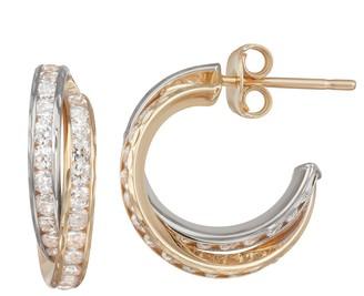 Forever 14k Forever 14K Gold Cubic Zirconia Hoop Earrings