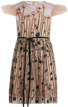 RED Valentino Floral-embroidered tulle mini dress