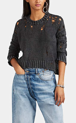 R 13 Women's Shredded Cotton-Blend Sweater - Gray