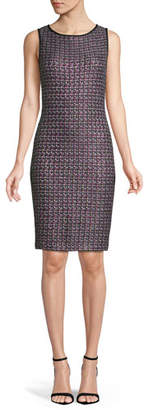 St. John Sleeveless Painterly Sheen Tweed Knit Sheath Dress