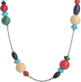 """American West Multi-Beaded 15"""" Liquid Silver Necklace"""