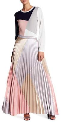 Gracia Colorblock Pleated Maxi Skirt