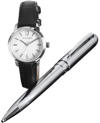 Cross Gift-Set Women's Quartz Watch with Silver Dial Analogue Display and Black Leather Strap CR4002