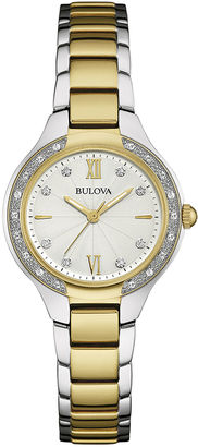 Bulova Diamonds Womens Diamond-Accent Two-Tone Stainless Steel Bracelet Watch 98R221 $299.25 thestylecure.com