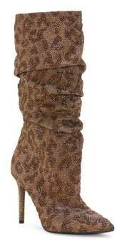 Jessica Simpson Laraine Ruched Leopard Print Glitter Stiletto Boots