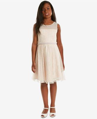 Rare Editions Pearl-Trim Lace Dress, Big Girls