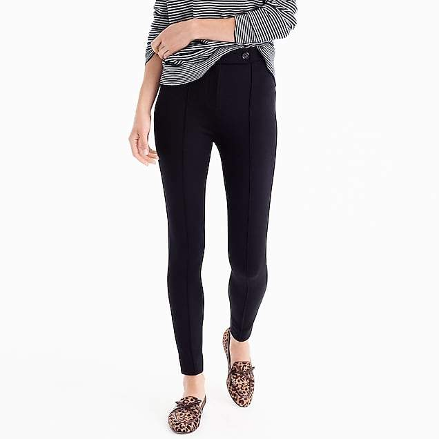 Button-front any day pant in stretch ponte