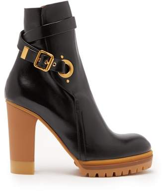 Chloé Trek Buckled Leather Ankle Boots - Womens - Black