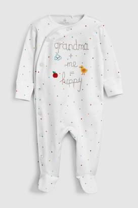 Next White Grandma Slogan Embroidered Sleepsuit (0-18mths)