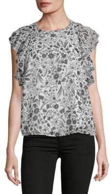 Nanette Lepore Floral Ruffled Sleeveless Top