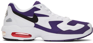 Nike White and Purple Max2 Light Sneakers