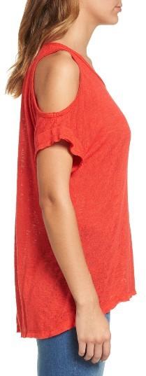 Women's Bobeau Cold Shoulder Slub Knit Tee 5
