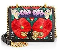Alexander McQueen Women's Small Skull Jewelled Floral Leather Satchel