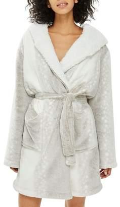 Topshop Snow Leopard Print Fleece Hooded Short Robe