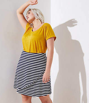 LOFT Plus Striped Wrap Pull On Skirt