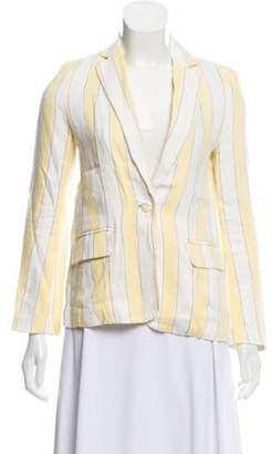 Frame Striped Linen Blazer Yellow Striped Linen Blazer
