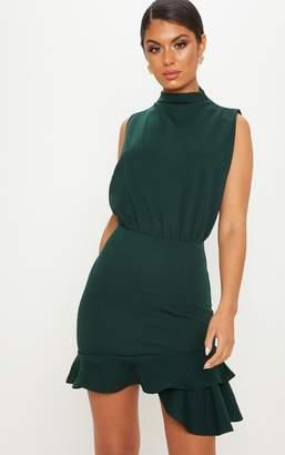 PrettyLittleThing Emerald Green High Neck Frill Hem Bodycon Dress