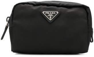 Prada logo plaque makeup bag