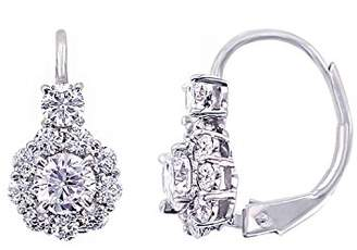 Platinum-Plated Sterling Simulated Diamonds Flower Leverback Earrings
