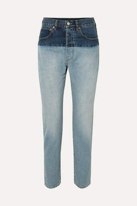 Vetements Split Two-tone High-rise Straight-leg Jeans - Indigo