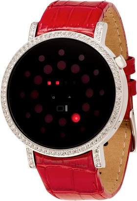 01 The One 01TheOne Women's Odins Rage Crystal Accented LED Leather Watch #ORS502R1